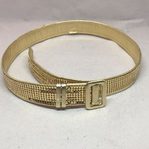 Gold tone leather and mesh belt.